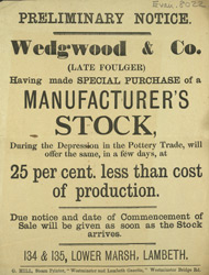 Advert for Wedgwood & Co, pottery outlet store